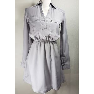 Express Grey Satin Shirt Dress